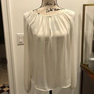 Olivaceous White chiffon shirred long sleeve blous